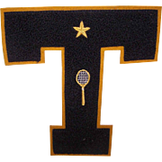 "C.1940 Chenille & Felt ""T for TENNIS"" Sports Letter with Gold Star & Tennis Racquet/Tennis Racket!"