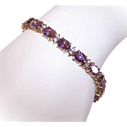 Vintage STERLING SILVER Vermeil (Gold Wash), Amethyst Paste & Clear Rhinestone Tennis Bracelet!