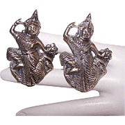 2 Vintage Made in Siam STERLING SILVER Pins/Brooches - Siamese Dancer!