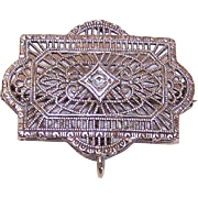 ART DECO Sterling Silver Filigree Watch Pin with Clear Rhinestone!