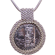 1958 CANADIAN Haida Totem Pole Silver Dollar Set as a Pendant - Handmade by Squamish Indian Band Tribe!
