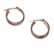 "Sweet 14K Gold Two-Tone Gold (White & Yellow) 3/4"" Hoop Earrings!"