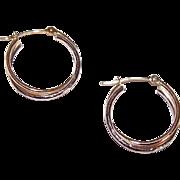 "Sweet 14K Gold Two-Tone Gold (White & Yellow) 3/4"" Hoop Earrings!"