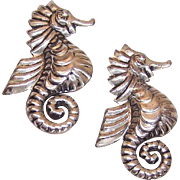 2 Vintage STERLING SILVER Pins/Brooches - Seahorse Design - Made in Mexico!