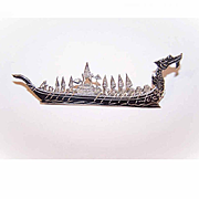1950s MADE IN SIAM Sterling Silver & Niello Pin/Brooch - Royal Barge/Royal Ship!