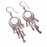 Vintage STERLING SILVER Filigree Drop Earrings with Lots of Stars!