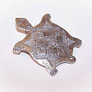 Signed STERLING SILVER Native American Pin - Turtle with Indian Markings!