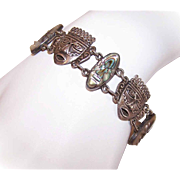 Vintage MEXICAN Sterling SIlver & Abalone Link Bracelet - Tribal Mask Faces!