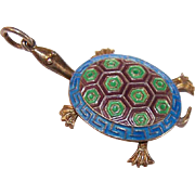 Vintage ARTICULATED China Silver & Enamel Turtle Charm or Pendant - China Export Piece!