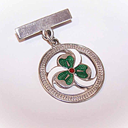 C..1967 English STERLING SILVER & Enamel Shamrock Pendant/Medal with Pin Attachment!