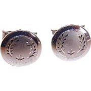 Retro Modern 1950s STERLING SILVER Cufflinks with Engraved Fronts!