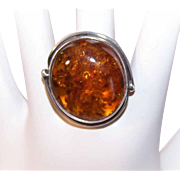 Vintage STERLING SILVER & Amber Ring - Retro Modern Design with Large Cab!