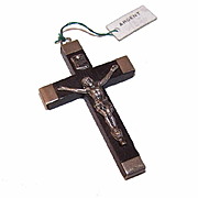 French 800/900 Silver & Ebony Crucifix/Cross Pendant from Lourdes with Original Price Tag!