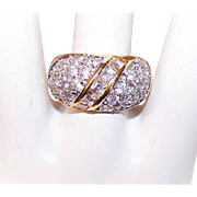 Vintage STERLING SILVER Vermeil & Cubic Zirconia/CZ Fashion Ring!