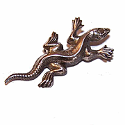 Small Vintage SILVER TONE Metal Pin/Brooch - Gecko or Lizard!