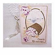 Unused ANTIQUE VICTORIAN Greeting Card - Hearty Greetings - Basket of Pansies!