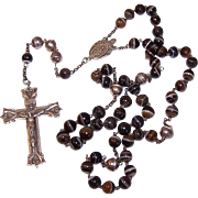 RARE Vintage STERLING SILVER & Banded Agate Rosary - Adult Sized!