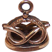 C.1900 GOLD FILLED Watch Fob Charm - Pretzel Decoration with Initials M.B.!
