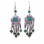 Upcycled STERLING SILVER, Green Chrysoprase Faceted Bead, Rhinestone & Filigree Earrings!