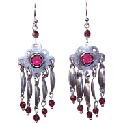 Upcycled STERLING SILVER, Garnet Faceted Bead, Rhinestone & Filigree Earrings!