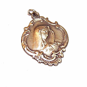 Dated 1953 STERLING SILVER Vermeil Religious Medal (Virgin Mary) Presented by a Monsignor to Student!