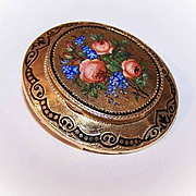 European ANTIQUE VICTORIAN 18K Gold & Enamel Locket Pin/Locket Brooch - Painted Pink Roses Top!