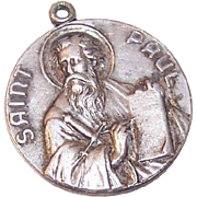 Vintage STERLING SILVER Religious Medal or Charm - Saint Paul the Apostle!