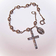 Vintage ITALIAN EXPORT Sterling Silver Religious Bracelet with Cross & Religious Medal!