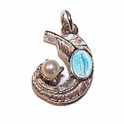 Vintage STERLING TONE Metal & Blue Enamel Religious Charm - Virgin Mary/Miraculous Medal!