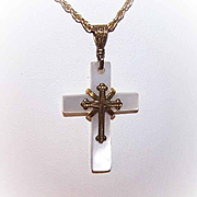 C.1890 VICTORIAN Gold Filled & Mother of Pearl Religious Cross Pendant!