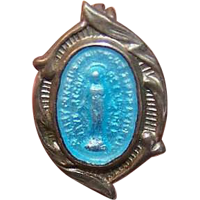 Vintage SILVER TONE METAL & Enamel Religious Pin - Virgin Mary/Miraculous Medal!