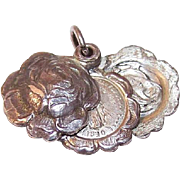 Vintage STERLING SILVER Religious Charm or Slider Pendant - Rose with Virgin Mary/Madonna & Child!