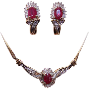 Vintage ITALIAN 10K Gold, 2.55CT TW Diamond & Ruby Jewelry Set - Necklace & Earrings (Pierced)!