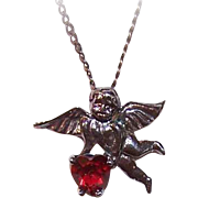 Sweet STERLING SILVER Charm or Pendant - Flying Angel Carrying Red Rhinestone Heart!
