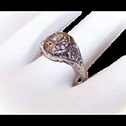 ART DECO 18K Gold & .10CT Diamond Filigree Engagement Ring!