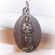 C.1929 FRENCH Silverplate Religious Medal or Charm - Madonna & Child/Virgin Mary & Infant Jesus!