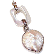 Vintage STERLING SILVER, Mother of Pearl & Blister Pearl Pendant!