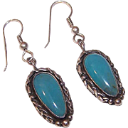 Vintage STERLING SILVER Drop Earrings with Blue Chalcedony Cab!