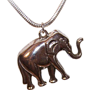 Adorable STERLING SILVER Pendant - Elephant with Upraised Trunk!
