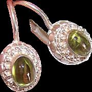 Vintage STERLING SILVER & Peridot Pierced Earrings!