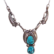 Vintage Native American STERLING SILVER & Turquoise Chain Necklace!