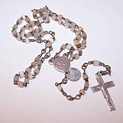 Vintage ITALIAN Glass Bead & Aluminum Rosary for a Child or a Doll!