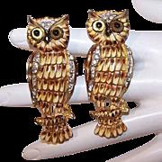 Pair of CORO CRAFT Sterling Silver Vermeil, Rhinestone & Enamel Duette Pins - Horned Owls!