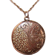 """ANTIQUE EDWARDIAN Gold Filled Locket - Engraved Front with Initial """"C"""" at the Back!"""