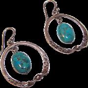 Vintage STERLING SILVER & Turquoise Hoop Earrings!