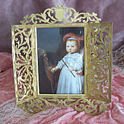 ANTIQUE VICTORIAN Gilt Bronze Frame (Doors Open to Reveal Image) by Marion, London!
