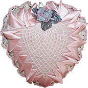 Vintage Ribbonwork & Crocheted Pin Cushion Heart or Sachet - Pretty in Pink & Cream!