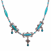 Repurposed MARIUS HAMMER 930 Silver & Enamel Necklace with Turquoise Heishe!