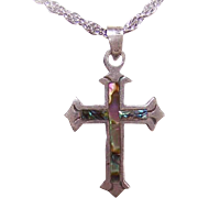 Vintage Mexican STERLING SILVER & Abalone Cross Pendant!