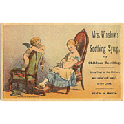 VICTORIAN Trade Card - Mrs Winslows Soothing Syrup - Little Girl & Angel Graphics!